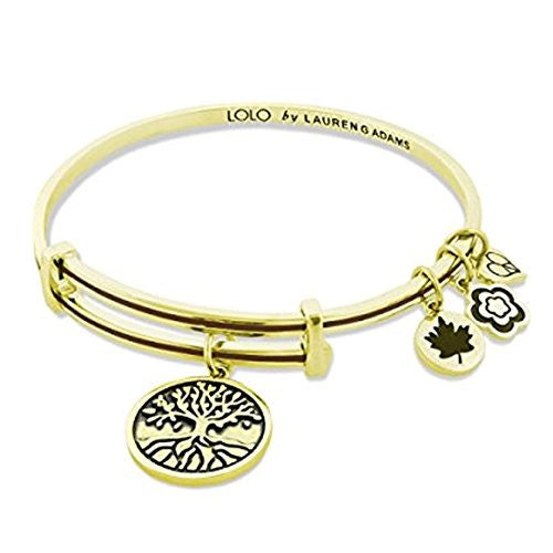 "Lauren G Adams LOLO ""Tree of Life"" Gold Plated and Cappuccino Enamel Bangle Bracelet (Size: Medium)"