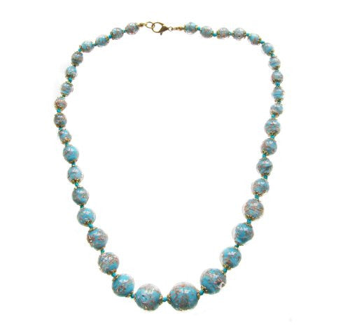 "Genuine Venice Graduated Murano Sommerso Aventurina Glass Bead Strand Necklace in Aqua, 20+2"" Extender"