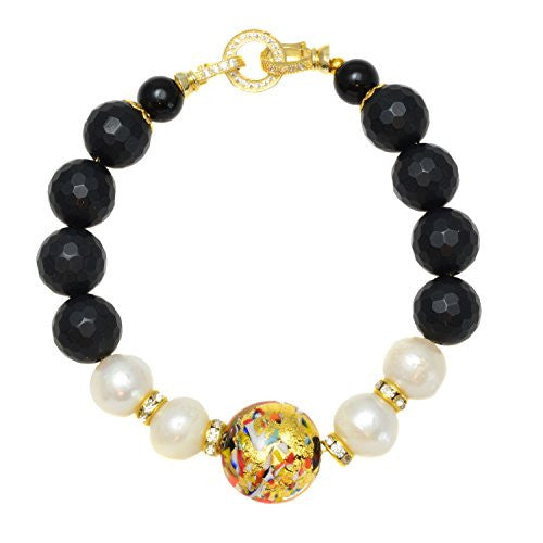 Murano Glass Beads from Venice with Simulated Pearls and Black Onyx Link Bracelet (10mm), 7.25""