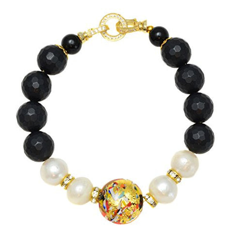 Murano Glass Beads from Venice with Simulated Pearls and Black Onyx Link Bracelet (10mm), 7.25