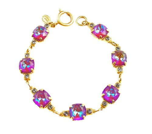 Catherine Popesco Gold Plated Link Bracelet with Blue Purple Swarovski Crystals