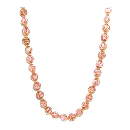 "Genuine Venice Murano Sommerso Aventurina Glass Bead Long Strand Necklace in Pink, 26+2"" Extender"