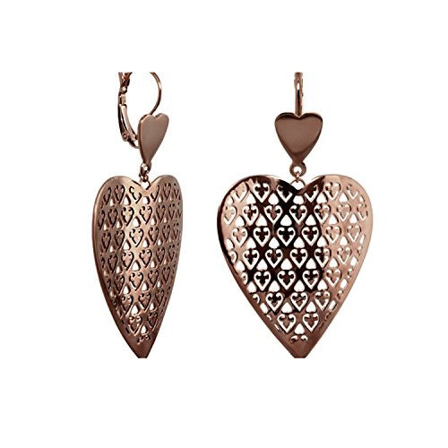 Lauren G Adams Chocolate Gold Plated Cookie Cutter Wavy Heart Dangle Earrings