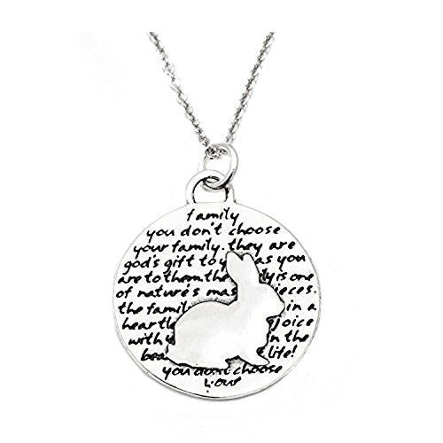 "Kevin N Anna Sterling Silver LARGE Etched ""Rabbit"" Pendant Necklace (Celebrates FAMILY), 18"""