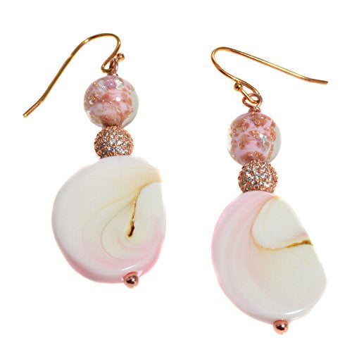 Rose Gold Tone Pink Murano Glass Shell Earrings