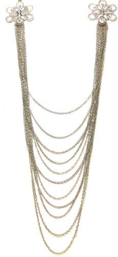 Just Give Me Jewels Silvertone Fashion Statement Draping Multi-Chain Necklace with Rhinestone Flowers, 40