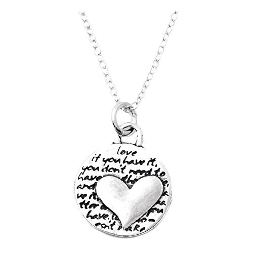 "Kevin N Anna Sterling Silver SMALL Etched ""Heart"" Pendant Necklace (LOVE Quote), 16"""