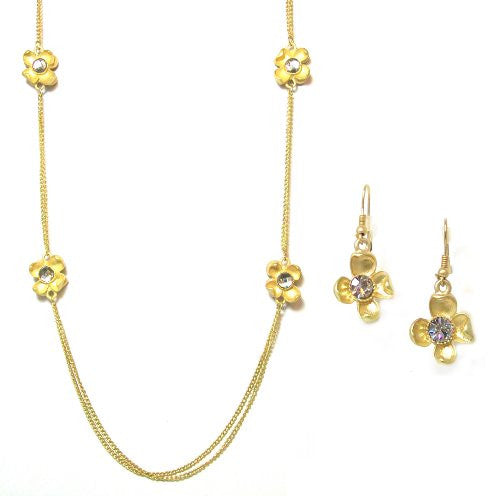 Just Give Me Jewels Goldtone Double 38 Inch Chain Flower Necklace and Earrings Set