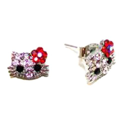 Silvertone Crystal Kitty Stud Earrings with Red Flower