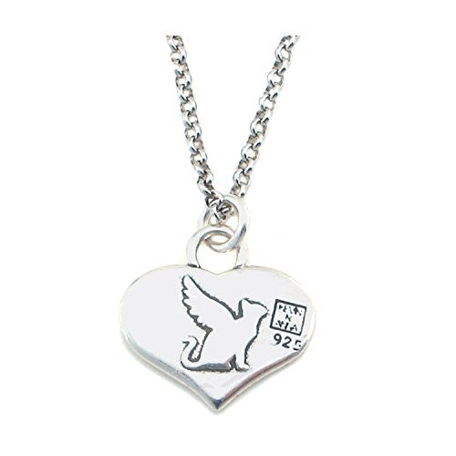 "Kevin N Anna Sterling Silver ""Angel Cat"" Memorial Charm Necklace, 16"""