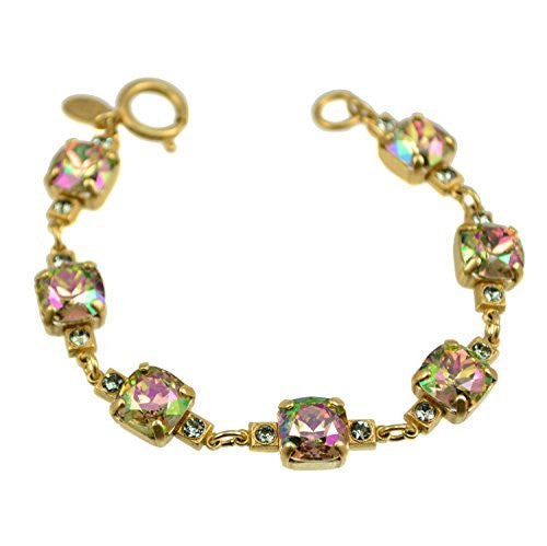 New Catherine Popesco Gold Plated Link Bracelet with Purple Haze Swarovski Crystals