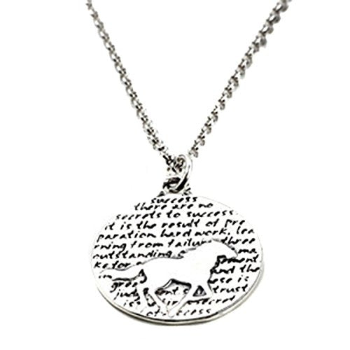 "Kevin N Anna Sterling Silver LARGE Etched ""Horse"" Pendant Necklace (Celebrates SUCCESS), 18"""