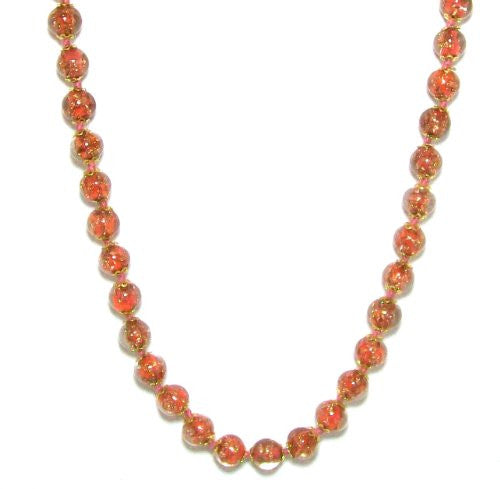 "Genuine Venice Murano Sommerso Aventurina Glass Bead Strand Necklace in Orange, 18+2"" Extender"