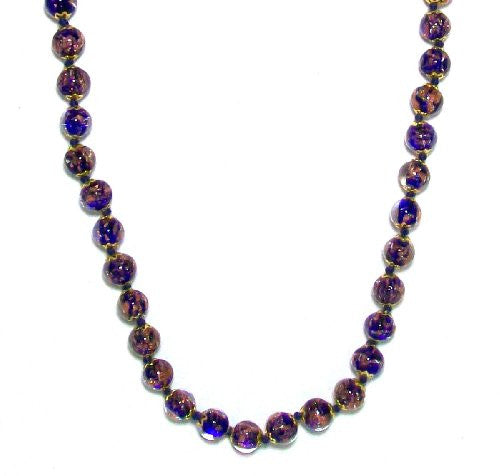Genuine Venice Murano Sommerso Aventurina Glass Bead Strand Necklace in Blue, 18+2