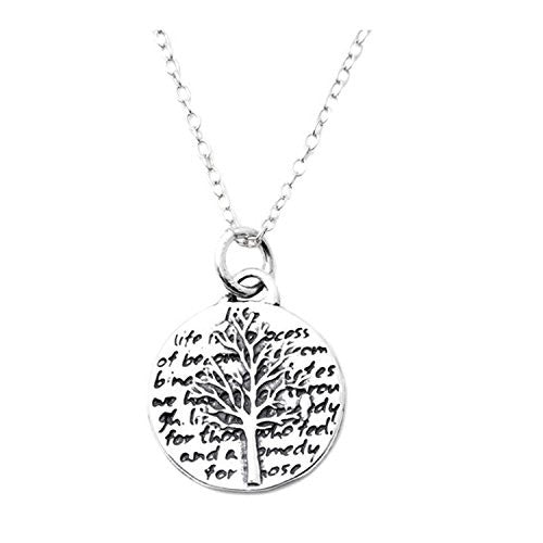 "Kevin N Anna Sterling Silver SMALL Etched ""Tree Of Life"" Pendant Necklace (Celebrates LIFE), 16"""