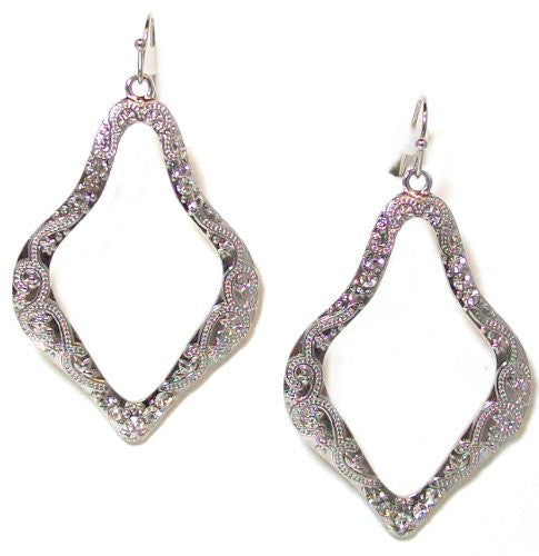 Just Give Me Jewels Silvertone Open Etched Dangle Earrings with Crystal Accents