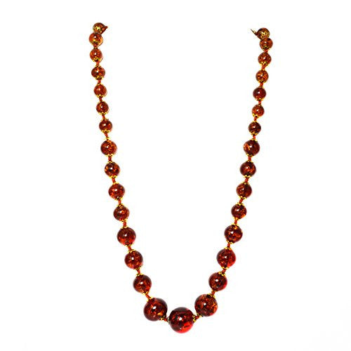 "Genuine Venice Graduated Murano Sommerso Aventurina Glass Bead Strand Necklace in Amber, 20+2"" Extender"