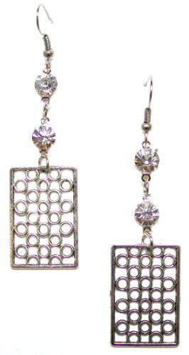 Just Give Me Jewels Silvertone 3-tier Rhinestone and Geometric Patterned Dangle Earrings