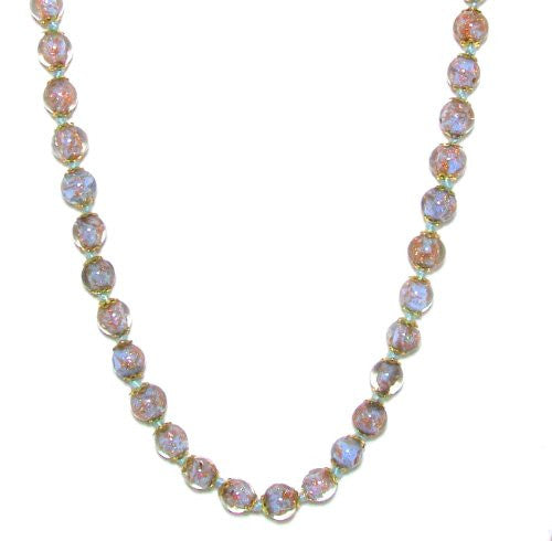 "Genuine Venice Murano Sommerso Aventurina Glass Bead Strand Necklace in Light Blue, 18+2"" Extender"
