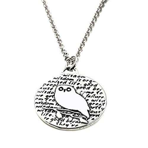 "Kevin N Anna Sterling Silver LARGE Etched ""Owl"" Pendant Necklace (Celebrates WISDOM), 18"""