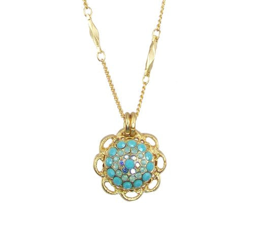 "Mariana ""Cindy Antique Gold Plated Swarovski Crystal Flower Pendant Necklace, 16"" - 5105 2677"