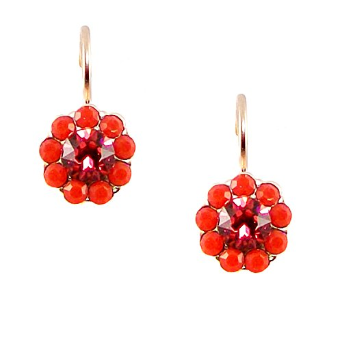 Mariana Ring of Fire Rose Gold Plated Flower Drop Earrings with Swarovski Crystals - 1379 1005
