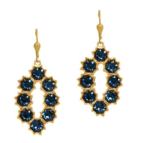 Catherine Popesco Gold Plated Montana Blue Crystal Oval Flower Petal Dangle Earrings