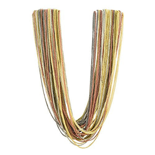 Just Give Me Jewels 18 inch Goldtone Clasp Multi-Color Metal Multi-Chain Strand Fashion Necklace, 22+2
