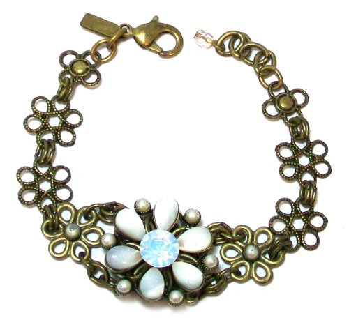 Just Give Me Jewels Goldtone Flower Link Bracelet with Mother of Pearl and Crystal Flower, 7""