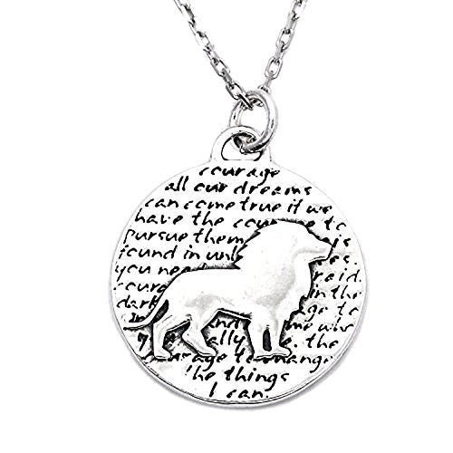 "Kevin N Anna Sterling Silver LARGE Etched ""Lion"" Pendant Necklace (Celebrates COURAGE), 18"""