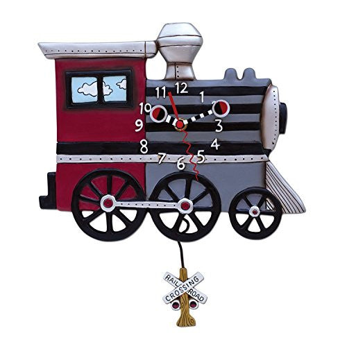 Choo Choo Train Whimsical Pendulum Wall Clock
