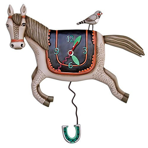 Woah Horsey Horse Shoe pendulum Whimsical wall clock