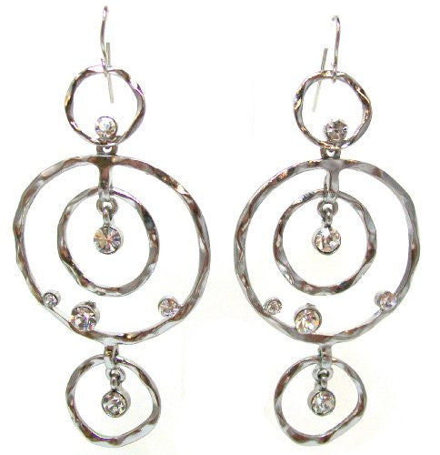 Just Give Me Jewels Hammered Silvertone Concentric Circles Dangle Earrings with Rhinestone Accents