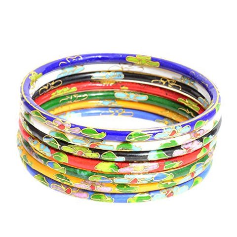 Set of Seven Multicolored Cloisonne Enamel Bangle Bracelets