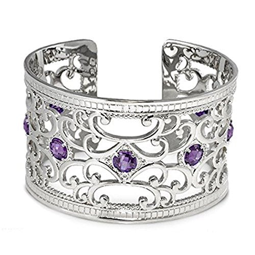 Lauren G Adams Rhodium Plated Medieval Design Cuff Bracelet With Faceted Cubic Zirconia