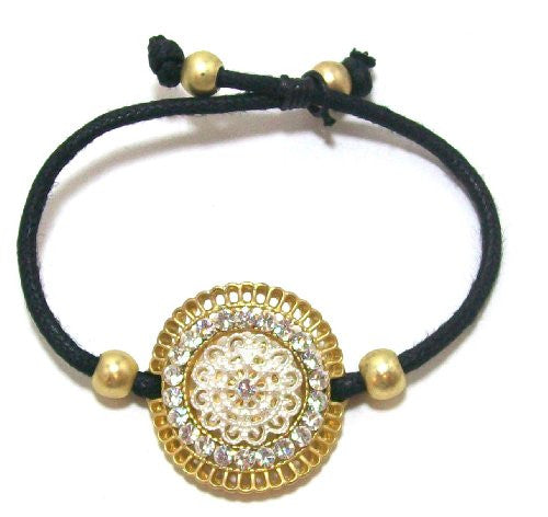 Just Give Me Jewels Goldtone Medallion Black Cord Bracelet, Adjustable