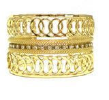 Just Give Me Jewels Goldtone Wide Rhinestone Cuff Bracelet with Mesh and Loop Details