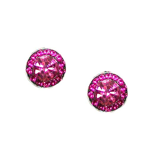 "Mariana""Tropical"" Antique Silver Plated Petite Round Swarovski Crystal Post Earrings - 1129 3111"