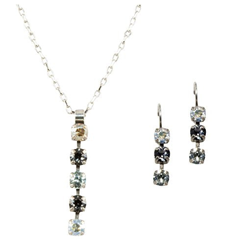Mariana Antique Silver Plated Swarovski Crystal Pendant Necklace and Earrings Set (Zulu)