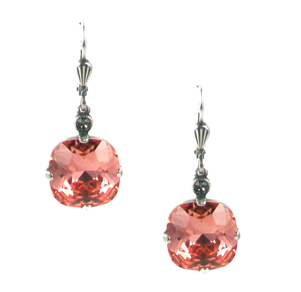 Stunning peach colored swarovski crystals dangle earrings