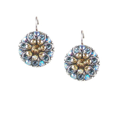 Mariana Antique Silver Plated Flower Drop Earrings with Swarovski Crystals - -1029 216 3