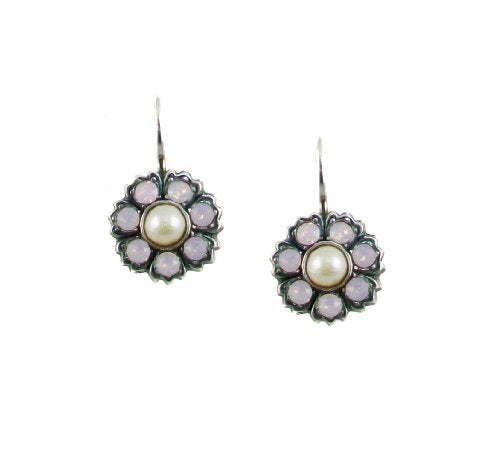 Mariana Coco Antique Silver Plated Swarovski Crystal Flower Drop Earrings - 1411/2 1015