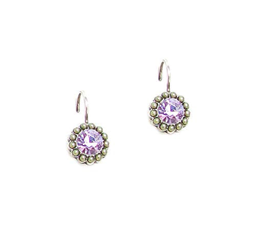"Mariana""Lilac"" Antique Silver Plated Swarovski Crystal Drop Earrings 1133 1326"