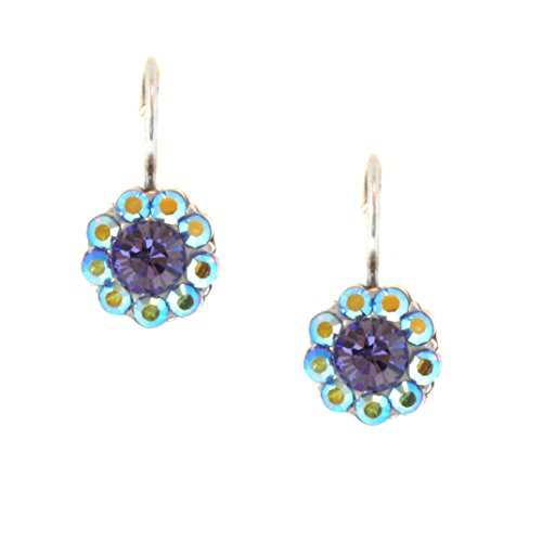 Mariana Antique Silver Petite Flower Swarovski Crystal Drop Earrings - 1379 539