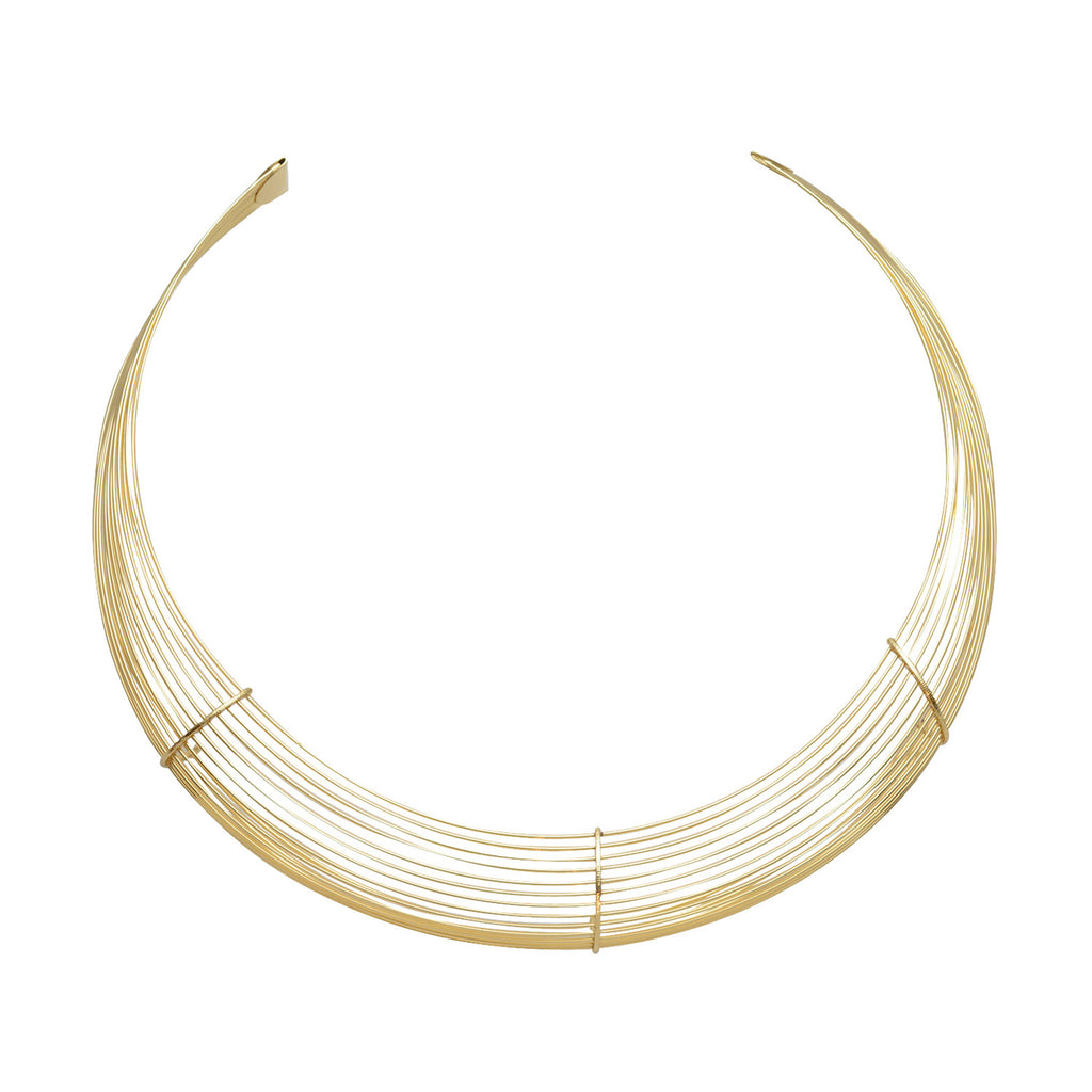 "Adjustable ""Orbit"" Gold Plated Micro Wire Choker Necklace"