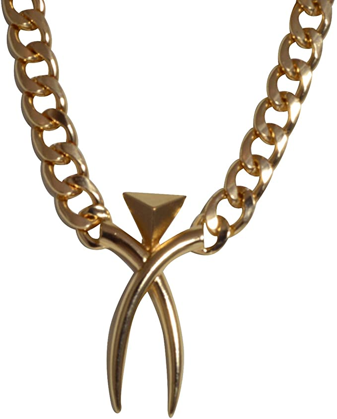 Goldtone Heavy Chain Necklace - Cross Bone