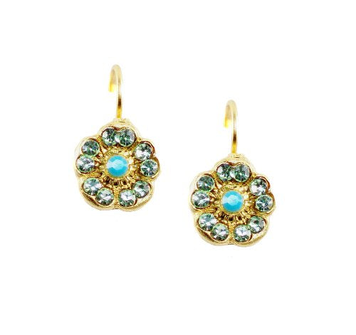 Mariana Antique Gold Plated Swarovski Crystal Poppy Flower Drop Earrings (Rising Sun) - 1220 1317