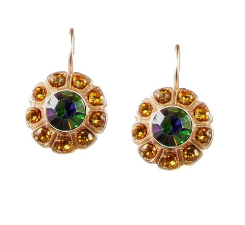 Mariana Matte Rose Gold Plated Flower Earrings with Swarovski Crystals (Audrey) - 1131 1021