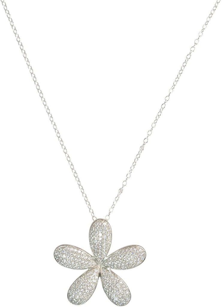 Alamea Rhodium Plated Sterling Silver Plumeria CZ Pendant Necklace