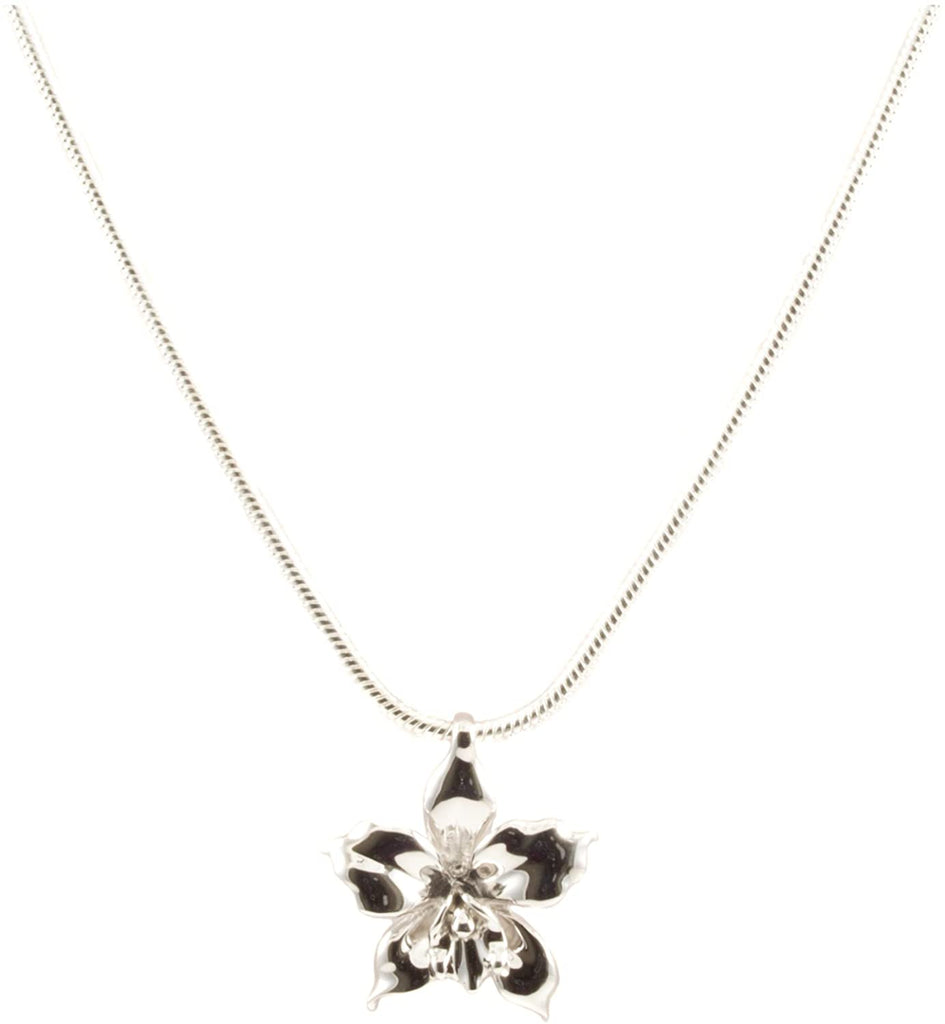 Sterling Silver Plumeria Tropical Flower Pendant Necklace